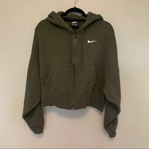NIKE Khaki Sportswear Fleece Crop Zip-Up Hoodie